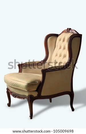 Beige luxury armchair isolated on white background with clipping path - stock photo