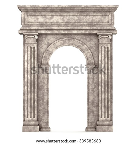 Beige Marble Composite Arch Isolated on White. 3d rendering