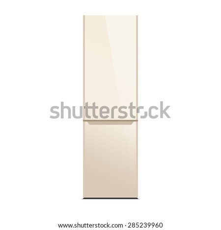 Beige modern refrigerator isolated on white. Glossy finish. - stock photo