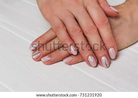Beige Nail Art Gold Lines On Stock Photo Edit Now 731231920