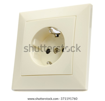 beige outlet on a white background closeup