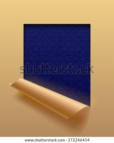 Beige paper sheet cut framed  and partially rolled up with ornamental dark blue background. The lower background is on separate layers by easy change to another - stock photo