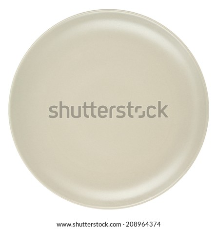 Beige plate isolated. - stock photo