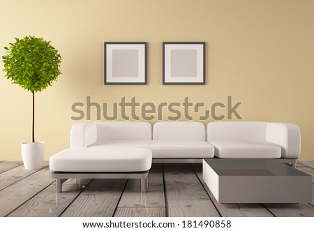beige room with white furniture and a green tree - stock photo