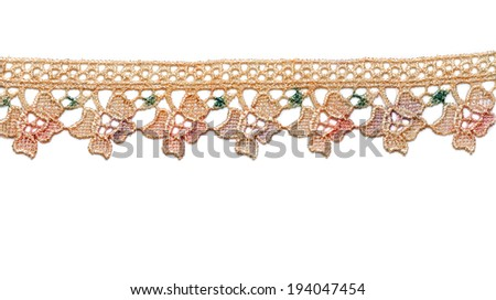 Beige satin lace, isolate on white background. - stock photo