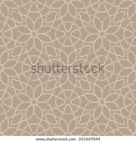 Beige seamless texture halftone lace floral pattern on the brown background - stock photo