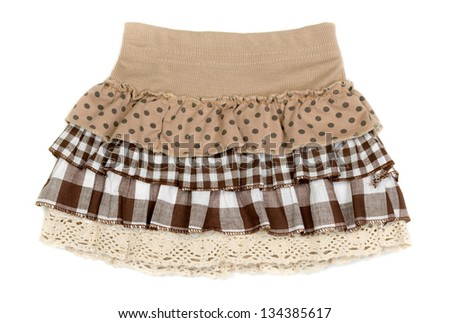 beige skirt with frills isolated on white