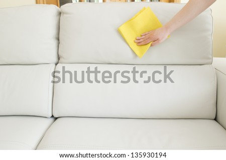 beige sofa cleaning - stock photo