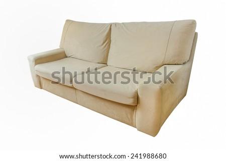beige sofa isolated on white background - stock photo
