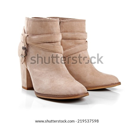 beige suede womens shoes - stock photo