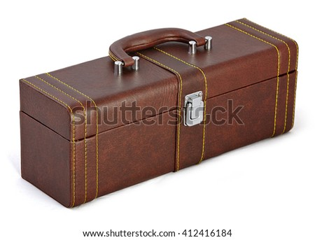 Beige suitcase, bag for New Year and Christmas gifts isolated on white background. Case with handle set for wine with clipping path.  - stock photo