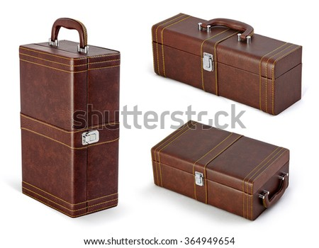 Beige suitcase or bag for gifts isolated on white background. Set for wine. - stock photo