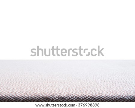 Beige tweed fabric tablecloth for product display, perspective view - stock photo
