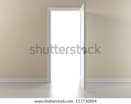 Beige wall with open door - stock photo