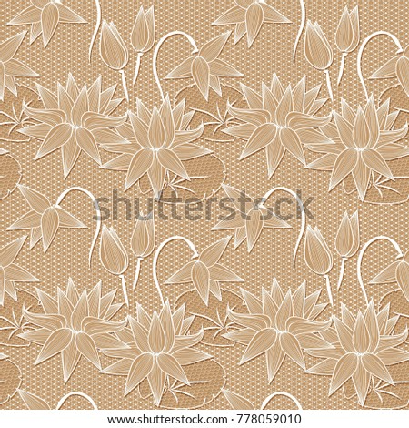Beige white lotus flowers lace design stock illustration 778059010 beige white lotus flowers lace design background ornamental band abstract lace ribbon seamless pattern mightylinksfo