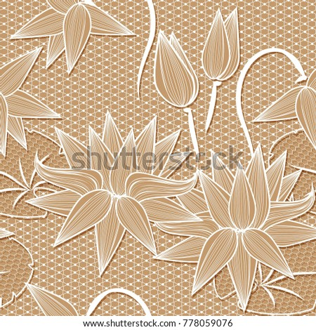 Beige white lotus flowers lace design stock illustration 778059076 beige white lotus flowers lace design background ornamental band abstract lace ribbon seamless pattern mightylinksfo