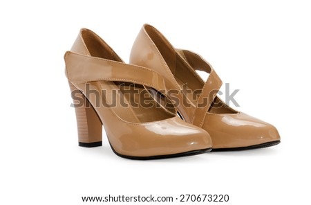 Beige woman shoes isolated on a white background - stock photo