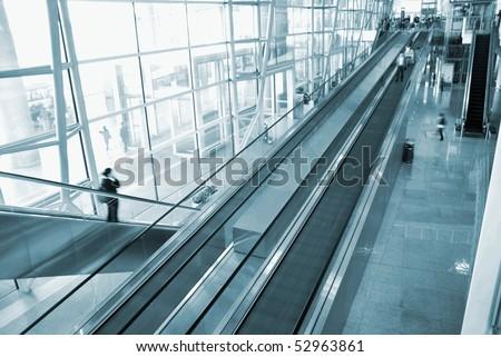 Beijing airport escalator - stock photo