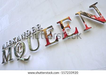 BEIJING-APRIL 6. Alexander McQueen logo on fashion store. Lee Alexander McQueen, (17.03.1969 -? 11.02.2010) was a British fashion designer with in-depth knowledge of tailoring. Beijing, April 6, 2012  - stock photo