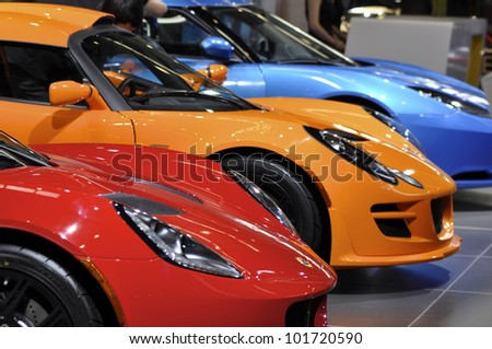 BEIJING - APRIL 29: LOTUS new serie  of sport cars at the 2012 Beijing International Automotive Exhibition (Auto China 2012) on April 29, 2012 in Beijing, China. - stock photo