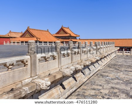 BEIJING-AUG. 28, 2016. Ornate balustrade with pavilion on background, Palace Museum, listed UNESCO World Heritage Site in 1987 as the world's largest collection of preserved ancient wooden structures.