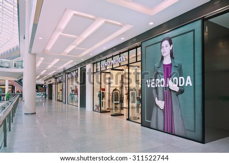 BEIJING-AUG. 21, 2015. VERO MODO fashion outlet exterior. Danish Bestseller Group is Europe's leading international fashion company with four well-known brands: ONLY, VERO MODA, JACK & JONES and EXIT - stock photo