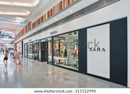 BEIJING-AUG. 21, 2015. Zara outlet exterior. The world's biggest fashion retailer still expands quickly. Last years, sales grown 17% annually. Every year, it opens stores in more than sixty countries. - stock photo