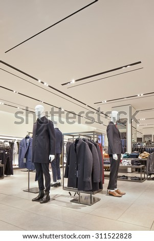 BEIJING-AUG. 21, 2015. Zara outlet interior. The world's biggest fashion retailer still expands quickly. Last years, sales grown 17% annually. Every year, it opens stores in more than sixty countries. - stock photo