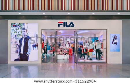 BEIJING-AUGUST 21, 2015. Front of Fila outlet. Founded in 1911 in Italy, one of the world's largest sportswear companies. Since a takeover in 2007 by Fila Korea, now it operates from South Korea.  - stock photo