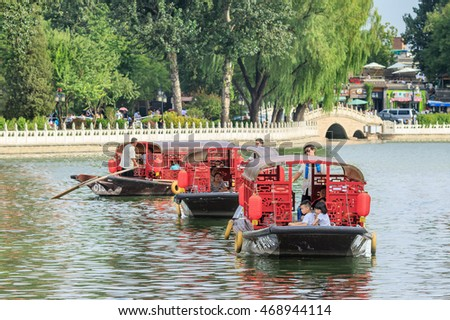 BEIJING-AUGUST 14, 2016. Houhai Lake during tourist season. It is very popular among foreign tourists visiting Beijing and is often visited by expatriate community and younger generations of locals.