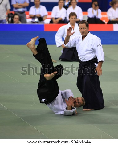 BEIJING-AUGUST 31: unidentified Practitioners takes part in the Aikido Complex Skills performance at the SportAccord Combat Games 2010 Beijing on August 31, 2010 in Beijing, China