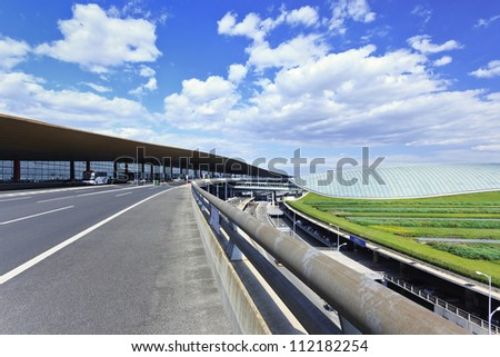Beijing Capital Airport Terminal 3, the second largest airport terminal in the world after Dubai, and the fifth largest building in the world by area. - stock photo