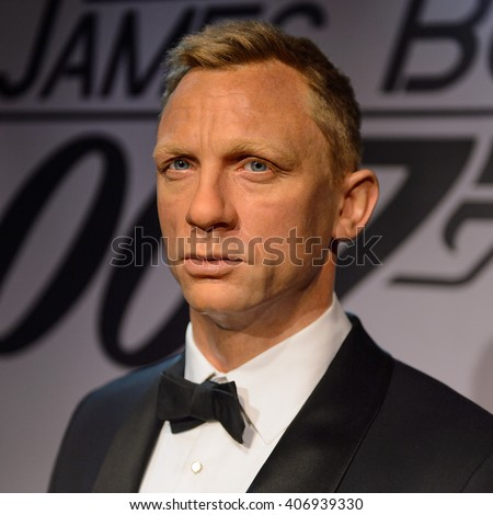 BEIJING, CHINA - APR 6, 2016: Daniel Craig as 007 agent James Bond,  Beijing Madame Tussauds wax museum. Marie Tussaud was born as Marie Grosholtz in 1761 - stock photo