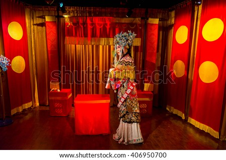 BEIJING, CHINA - APR 6, 2016: Mei Lanfang at  the Beijing Madame Tussauds wax museum. Marie Tussaud was born as Marie Grosholtz in 1761