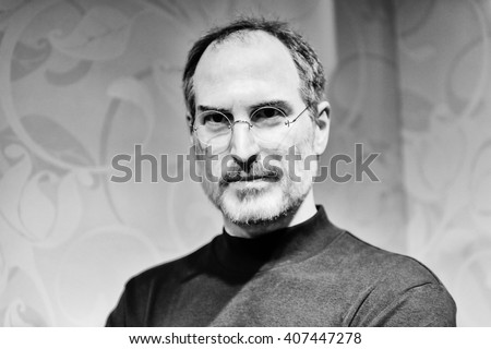 BEIJING, CHINA - APR 6, 2016: Steve Jobs in black and white at Beijing Madame Tussauds wax museum. He was the co-founder of Apple Inc - stock photo