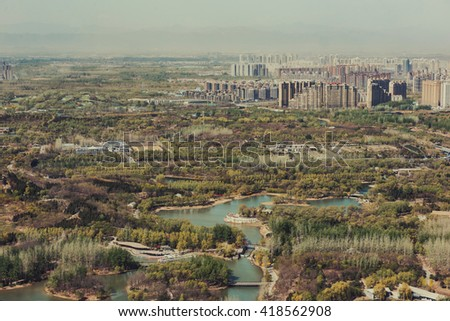 Beijing, China - April 7, 2016: Beijing metropolis seen from above. - stock photo