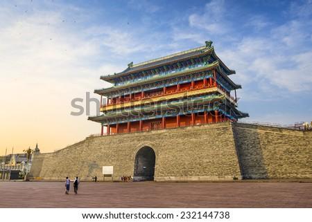 Beijing, China at the Zhengyangmen Gatehouse in Tiananmen Square. - stock photo