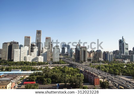Beijing-China- August 21, Beijing city center, the office building of CBD , on August 20, 2015 Beijing, China