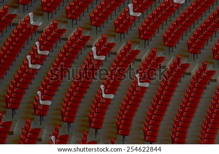 BEIJING, CHINA, AUGUST 20, 2013: detail of spectator seats situated inside of the birds nest olympic stadium in beijing. - stock photo