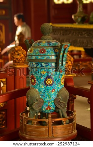 BEIJING, CHINA, AUGUST 20, 2013: detail of turquoise vase situated inside of the confucius temple in chinese beijing. - stock photo