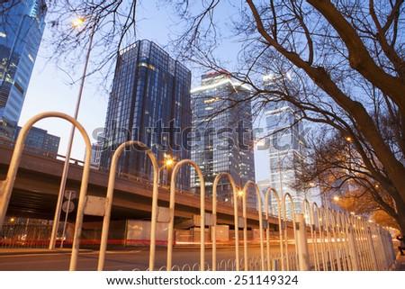 Beijing-China-Feb 08, Beijing city center, the office building of CBD , night view,on Feb 08, 2015 Beijing, China. - stock photo