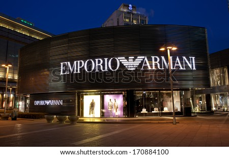 BEIJING, CHINA - JAN. 12, 2014: Emporio Armani store. Emporio Armani line has a high quality in luxury fashion clothes and focus on trends and modern traits and is mainly designed by Giorgio Armani.  - stock photo