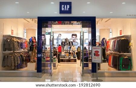 BEIJING,CHINA-JAN.22,2014:Gap store;Gap is an American multinational clothing and accessories retailer. As of Sep.2008, the company operates 3076 stores worldwide of which 2551 are located in the U.S. - stock photo