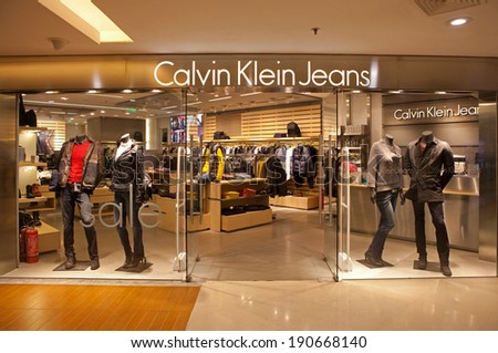 BEIJING, CHINA - JANUARY 2, 2014: Calvin Klein Jeans store; The Warnaco Group maintains Calvin Klein Jeans and corresponding outlet stores carrying the denim and casual collections.  - stock photo