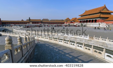 BEIJING, CHINA - JANUARY 10, 2016: people in Tiananmen Square under the historical architecture of the Forbidden City