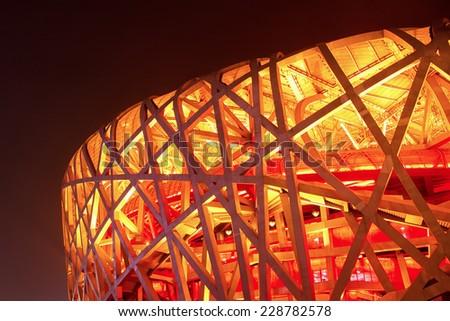 Beijing, China - July 5, 2014: the View of Chinese National Stadium (Bird Nest) at Night - stock photo