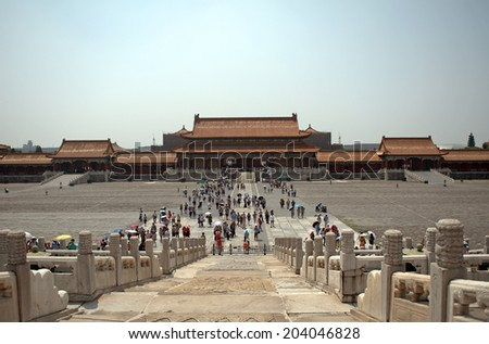 BEIJING, CHINA - JUNE 5: Forbidden City on June 5, 2014, Beijing, China. Once the residence of the Chinese emperors, todays the symbol of Beijing and a UNESCO World Heritage site. - stock photo