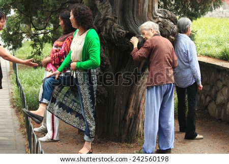 BEIJING, CHINA - JUNE 9, 2013: some people are clinging to 'magic' wood in park of Beijing, China on 9th June, 2013