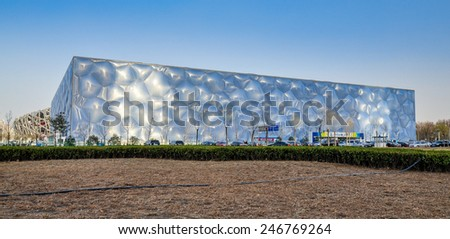 Beijing, China - Mar. 29, 2012: Beijing National Aquatics Center. Also known as the Water Cube, it is an aquatics center that was built  for the swimming competitions of the 2008 Summer Olympics. - stock photo