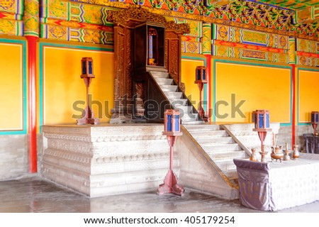 BEIJING, CHINA - MAR 27, 2016: Interior of the PAgoda at the Hall of Prayer for Good Harvests of the  Temple of Heaven, an Imperial Sacrificial Altar in Beijing. UNESCO World Heritage